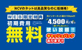 WEB限定特典 初期費用無料! NCVの光インターネット