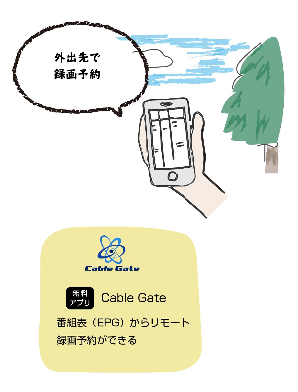 無料のアプリ「Cable Gate」を使えば、外にいても番組表のチェックや録画予約が可能